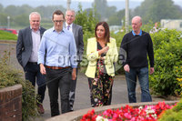 Press Eye - Belfast - Northern Ireland - 8th August 2018. Three petition signing centre open in north Antrim regarding The Recall of MPs Act 2015 and DUP MP for the area Ian Paisley Jnr\'s recent suspension from the House of Commons over expenses and holidays to Sir Lanka. . Sinn Fein MLA for the area Philip McGuigan(left) leads a party delegation into the Joey Dunlop leisure centre in Ballymoney where he signs the petition. .  . Picture by Jonathan Porter/PressEye