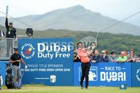 2018 Dubai Duty Free Irish Open, Ballyliffin Golf Club, Co. Donegal 8/7/2018. Julian Suri on the first tee. Mandatory Credit ©INPHO/Presseye/Kelvin Boyes