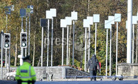 Press Eye Belfast - Northern Ireland 12th November 2017. The scene on Durmragh Avenue, beside the memorial to the Omagh bomb victims,  in Omagh where a security alert is taking place.  A Remembrance Day ceremony at the town\'s Cenotaph was called off due to the alert. . . Picture by Jonathan Porter/PressEye.com
