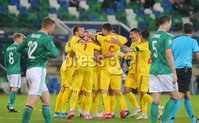 Press Eye - Belfast - Northern Ireland - 12th November 2020. UEFA Nations League 2021 - Northern Ireland Vs Romania at The National Stadium at Windsor Park, Belfast.. Romania celebrate after scoring to make it 1-1. . Picture by Jonathan Porter/PressEye