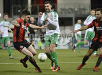 25/01/2020. Danske Bank Premiership, Seaview, Belfast Co. Antrim . Crusaders v Cliftonville . Crusaders  Michael Ruddy in action with Cliftonvilles Joe Gormley. Mandatory Credit INPHO/Stephen Hamilton.