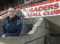 9th February 2018. Crusaders manager Stephen Baxter pictured at Seaview after penning a deal which will keep the Seaview boss at Seaview for another 5 years.. Mandatory Credit © Stephen Hamilton .