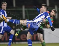 . Bet McLean League Cup Round 3, The Oval, Belfast 30/10/2018. Glentoran vs Coleraine. Glentorans James Ferrin in action with Coleraines Eoin Bradley. Mandatory Credit INPHO/Stephen Hamilton.