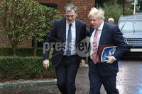 Press Eye - Belfast - Northern Ireland - 13th January 2020. Prime Minister Boris Johnson pictured along with Secretary of State Julian Smith as he visits Stormont House, Belfast.. Picture Matt Mackey / Press Eye.