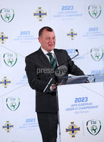 Press Eye - Belfast -  Northern Ireland - 01st November 2018 - Photo by William Cherry/Presseye. IFA AND FAI ANNOUNCE JOINT BID FOR 2023 UEFA UNDER-21 CHAMPIONSHIP. The Irish Football Association and the Football Association of Ireland have today announced their intention to submit a joint bid to host the UEFA Under-21 Championship in 2023.. The UEFA Under-21 Championship is the second biggest football tournament in Europe after the UEFA Euros. The best young talent from across the continent play in the tournament with players such as Luis Figo, Petr Cech, Iker Casillas and Andrea Pirlo all having featured in the competition before becoming senior internationals. Pictured talking at the launch is Patrick Nelson Irish FA Chief Executive