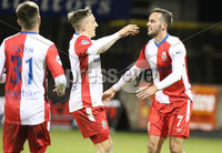 Bet McLean League Cup 3rd Round, Stangmore Park, Dungannon   8/10/2019. Dungannon Swifts FC  vs Linfield FC. Linfield Andrew Waterworth  celebrates scoring with Joel Cooper scores against Dungannon Swifts. Mandatory Credit  INPHO/Brian Little