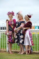 Press Eye - Belfast - Northern Ireland - 3rd November 2018 . Down Royal Festival of Racing - Day 2. Emma McGladdery, Kerry Davison and Samantha McMurray pictured at Down Royal . Photo by Kelvin Boyes / Press Eye..