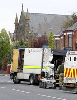 ©Press Eye Ltd Northern Ireland -2nd May 2012. Mandatory Credit - Picture by Darren Kidd/Presseye.com . Bomb alert at Ballysillan Presbyterian Church in north Belfast