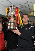©Press Eye Ltd Northern Ireland - 12th May 2012. Crusaders manager Stephen Baxter  celebrates after they won the Setanta cup.. Mandatory Credit - Picture by Stephen Hamilton /Presseye.com. .
