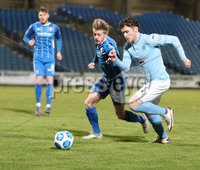 Danske Bank Premiership, Showgrounds, Ballymena.. 16/2/2021. Ballymena United  FC vs Coleraine FC . Ballymena United Shay McCartan    and Coleraine  Lydon Kane  during Tuesday night\'s Danske Bank Premiership match at Ballymena Showgrounds.. Mandatory Credit  INPHO/Brian Little