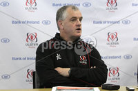 ©Press Eye Ltd Northern Ireland . Ulster Coach Brian McLaughlin speaking to the press at todays Ulster Rugby press conference ahead of Saturdays Rabo-Direct Pro 12 game against Munster at Thomond Pk. . Mandatory Credit-. Picture by BrianThompsonPresseye.com .