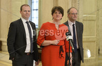 13/01/2020. First Minister Arlene Foster  pictured  at Stormont buildings on the first day of the new Power Sharing executive. Mandatory Credit.  Presseye/Stephen Hamilton