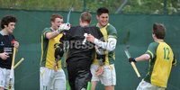 Mandatory Credit: Rowland White/Presseye. Men\'s Hockey: Irish Senior Cup Semi-Final. Teams: Lisnagarvey (blue) v Railway Union (yellow)). Venue: National Hockey Stadium, Dublin. Date: 12th May 2012. Caption: Jubilation for Railway Union as keeper, Stephen O\'Keeffe saves the last penalty corner of the game