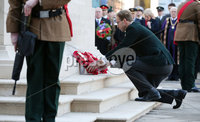 Press Eye - Belfast - Northern Ireland - 12th November 2017 . Minister Tobias Elwood lays a wreath at The Cenotaph in the Garden of Remembrance, City Hall Grounds, Belfast during the National Day of Remembrance . It is the city of Belfast's tribute to the memory of those who died in the Great War and the Second World War. . . Photo by Kelvin Boyes / Press Eye..
