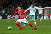 Press Eye - Belfast -  Northern Ireland - 12th November 2017 - Photo by William Cherry/Presseye. Northern Ireland\'s George Saville with Switzerland\'s Admir Mehmedi during Sunday nights World Cup Play Off 2nd leg game at St. Jakob-Park, Basel.