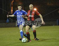. Danske Bank Premiership, The Showgrounds, Co. Armagh 2/11/2018. Newry City vs Crusaders. Newry\'s Mark McCabe in action with Crusaders Mark Mcchrystal. Mandatory Credit INPHO/Stephen Hamilton.