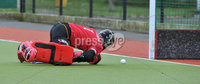 Mandatory Credit: Rowland White/Presseye. Men\'s Hockey: Irish Senior Cup Quarter-Final. Teams: Lisnagarvey (blue) v Pembroke Wanderers (yellow). Venue: Lisnagarvey. Date: 28th April 2012. Caption: Pembroke goalkeeper, David Williamson can only watch as the ball slips into the net.