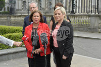 Press Eye - Belfast - Northern Ireland - 11th June. Sinn Fein President Mary Lou McDonlad pictured at the High Court in Belfast with Michelle ONeill after a series of meeting with the Chief Constable and Lord Chief Justice over bonfires and Legacy issues.. Mandatory Credit: Presseye/Stephen Hamilton