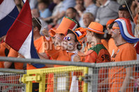 Press Eye - Belfast - Northern Ireland - 8th June. World Cup qualifier - Northern Ireland  v Netherlands at Shamrock Park Portadown.. Netherlands fans pictured during tonights game . Mandatory Credit: Presseye/Stephen Hamilton