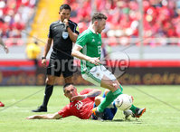 Press Eye - Belfast -  Northern Ireland - 03rd June 2018 - Photo by William Cherry/Presseye. Costa Rica\'s David Guzman with Northern Ireland\'s Corry Evans during Sunday mornings International Friendly at the Nuevo Estadio Nacional de Costa Rica in San Jose.   Photo by William Cherry/Presseye