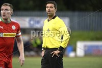 7th August 2018. Danske Bank Irish premier league match between Cliftonville and Institute at Solitude in Belfast.. Referee Andrew Davey.  Mandatory Credit: Stephen Hamilton /Inpho