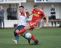 Press Eye Belfast - Northern Ireland 12th August 2017. Danske Bank Irish Premier league match between Cliftonville and Ards at Solitude Belfast.. Cliftonville\'s Levi Ives  in action with Ards Johnny Frazer.  Photo by Stephen  Hamilton / Press Eye