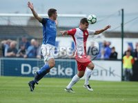 Danske Bank Premiership, Mourneview Park, Lurgan 4/8/2018. Glenavon FC vs  Linfield FC. Glenavon\'s  Stephen Murray    and Matthew Clarke   of Linfield.. Mandatory Credit @INPHO/Brian Little.