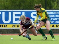 ©Press Eye Ltd Northern Ireland - 6th May 2012 - Mandatory Credit - Picture by Matt Mackey/presseye.com. Loreto v Railway Union in the Irish Hockey League final at Lisnagarvey hockey club.. Loreto\'s Hanna Matthews in action with Railway\'s Alex Speers.
