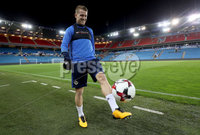 Press Eye - Belfast -  Northern Ireland - 07th October 2017 - Photo by William Cherry/Presseye. Northern Ireland captain Steven Davis during Saturdays nights training session at the Ullevaal Stadion, Oslo ahead of Sundays World Cup Qualifier against Norway.   Photo by William Cherry/Presseye