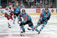 11 November 17, Mandatory Credit ©Press Eye/Darren Kidd.  Belfast Giants Brendan Connolly and Blair Riley during Saturday nights Elite League game at the SSE Arena, Belfast. Photo by Darren Kidd/Presseye