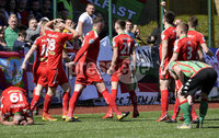 12th May 2018. Europa league play off final between Cliftonville and Glentoran at Solitude in Belfast.. Cliftonville\'s Rory Donnelly celebrates after scoring to make it 1-0. Mandatory Credit: Inpho/Stephen Hamilton