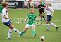 Press Eye - Belfast - Northern Ireland - 8th October 2019. European Women\'s U19 Championship 2020 Qualifying Round -  Northern Ireland Vs Norway, Seaview. Northern Ireland\'s Danielle Maxwell with Norway\'s Marthine Ostenstad.. Picture by Jonathan Porter/PressEye
