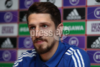 PressEye-Northern Ireland- 14th November 2019-Picture by Brian Little/PressEye. Northern Ireland\'s Craig Cathcart  during a press conference ahead of Saturday\'s Euro 2020 Qualifier against the Netherlands at the National Football Stadium at Windsor Park.. Picture by Brian Little/PressEye