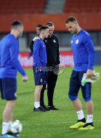 Press Eye - Belfast -  Northern Ireland - 11th October 2018 - Photo by William Cherry/Presseye. Northern Ireland manager Michael O\'Neill talks to Gavin Whyte during Thursday nights training session at the Ernst Happel Stadium in Vienna, ahead of their UEFA Nations League game against Austria.