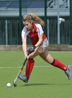 Mandatory Credit: Rowland White/Presseye. Women\'s Irish Hockey League. Teams: Pegasus (red) v Hermes (blue). Venue: The Dub. Date: 21st April 2012. Caption: Kate McConnell, Pegasus