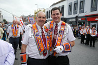 Press Eye - Belfast - Northern Ireland - 12th July 2018 . Mark Davison and Trevor McCullough take part in the  North Down \'Twelfth\' celebrations in Newtownards town centre, County Down.. Photo by Kelvin Boyes / Press Eye..