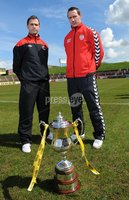 Presseye.com ©Stephen Hamilton  - 9th  May 2012. Derry Citys  Barry Molloy pictured with Crusaders  David Rainey pictured at the Setanta cup final press conference held ahead of Saturdays game at the Oval.   Mandatory Credit - Picture by Stephen Hamilton/Presseye.