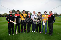 Press Eye - Belfast - Northern Ireland - 9th May 2012 . Ulster Camogie and GAA Hurling All Ireland Senior Championship. Picture by Elaine Hill / Press Eye. Michael Turley Down, Liam Hinphey Derry, Ruairi Convery Derry, Aoghan OFarrell - President Ulster GAA, Ryan Gaffney Armagh, Conor Mageean Down, Shane McNAughton Antrim and Patrick McCloskey Derry