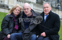 Press Eye - Belfast - Northern Ireland - 18th February 2020. Parents of a County Fermanagh man who took his own life as a result of a gambling addiction attend event at Stormont in east Belfast  hoping to see stricter laws.  Lewis Keogh was 34 when he died by suicide in 2013 and was about 50,000 in debt.  His parents hope to raise awareness of stricter gambling regulations which they say may have helped their son. Peter and Sadie Keogh pictured at Stormont with their son Justin(centre).. Picture by Jonathan Porter/PressEye