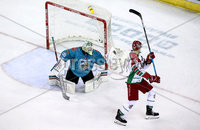 Press Eye - Belfast, Northern Ireland - 01st February 2020 - Photo by William Cherry/Presseye. Belfast Giants\' Shane Owen with Cardiff Devils\' Masi Marjamaki during Sunday afternoons Elite Ice Hockey League game at the SSE Arena, Belfast.   Photo by William Cherry/Presseye
