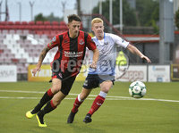 6th August 2018. Danske Bank Irish premier league match between Crusaders and Ards at Seaview.. Crusaders Jordan Forsythe  in action with Ards Joshua Kelly.  Mandatory Credit: Stephen Hamilton /Inpho