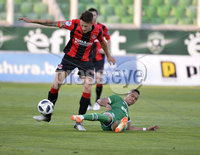 Wednesday 11th July 2018. UEFA Champions League First Qualifying Round First Leg between PFC Ludogorets Razgrad and Crusaders FC .. Ludogorets Claudiu-Andrei Keseru  in action with Crusaders Jordan Forsythe. Mandatory Credit: Inpho/Stephen Hamilton
