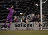 Press Eye - Northern Ireland -12th February 2016. Photograph:Presseye /Stephen Hamilton. Danske Bank Irish premier league match betweeen Crusaders and Glenavon at Seaview Belfast.. Crusaders Jordan owens heads in at the back post to draw the side level at 1-1