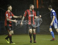 . Danske Bank Premiership, The Showgrounds, Co. Armagh 2/11/2018. Newry City vs Crusaders.  Crusaders Rory Patterson celebrates scoring from the spot. Mandatory Credit INPHO/Stephen Hamilton.