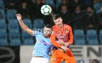 Danske Bank Premiership, Showgrounds, Ballymena 2/11/2018. Ballymena United v Glenavon FC. Ballymena United  Steven McCullough   and   Andrew Hall   of Glenavon.. Mandatory Credit @INPHO/Brian Little.