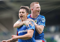 Danske Bank Premiership, Windsor Park, Belfast 10/8/2019. Linfield vs Institute. Linfield\'s Jordan Stewart  celebrates his goal with Shayne Lavery . Mandatory Credit INPHO/John McVitty