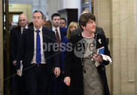 Presseye.com. 21/10/2019. DUP Leader Arlene Foster   pictured at Stormont  chamber where local MLAs returned to the chamber to debate laws on abortion and same sex marriage which will change at midnight  tonight .. Mandatory Credit Stephen Hamilton /Presseye