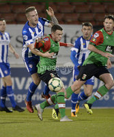 . Bet McLean League Cup Round 3, The Oval, Belfast 30/10/2018. Glentoran vs Coleraine. Glentorans Chris Gallagher  in action with Coleraines Andrew Burns. Mandatory Credit INPHO/Stephen Hamilton.