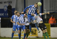 Bet Mclean league cup 3rd round . 8th October 2019. Coleraine  v Glentoran ay Ballycastle road, Coleraine. Coleraines Alex Gawn  in action with Glentorans Hrvoje Plum. Mandatory Credit INPHO/Stephen Hamilton.
