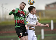 29/02/20. Sadlers Peaky Blinders Irish Cup Quarter final between Glentoran  and Crusaders at the Oval Belfast. Glentorans Rory Donnelly in action with Crusaders Jordan Forsythe. Mandatory Credit - Inpho/Stephen Hamilton.